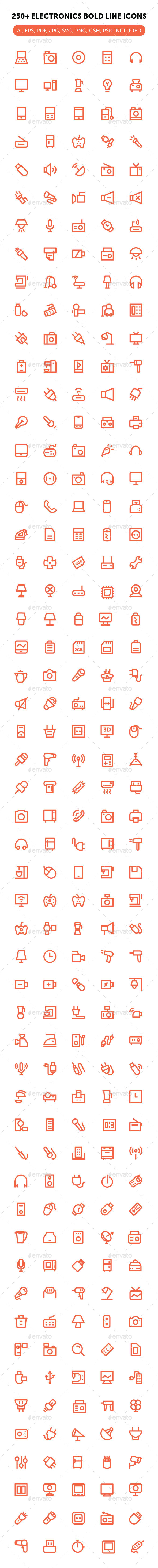 250+ Electronics Bold Line Icons - Objects Icons