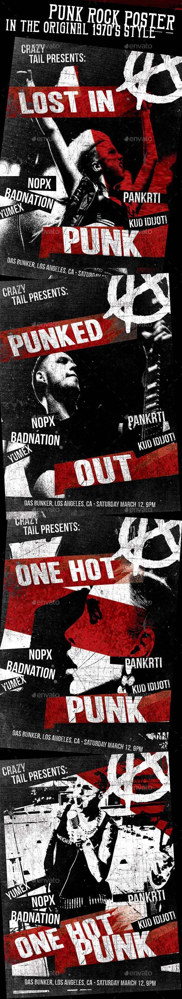 Original 70's Style Punk Rock Poster - Concerts Events