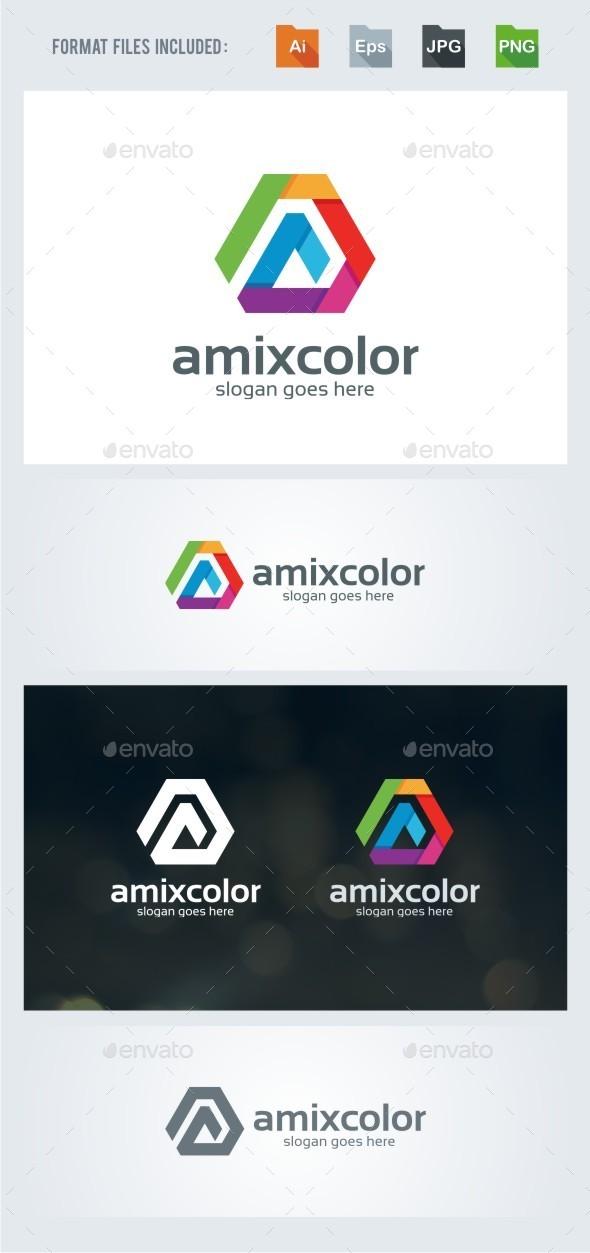 A Letter - Colors Logo Template - Letters Logo Templates