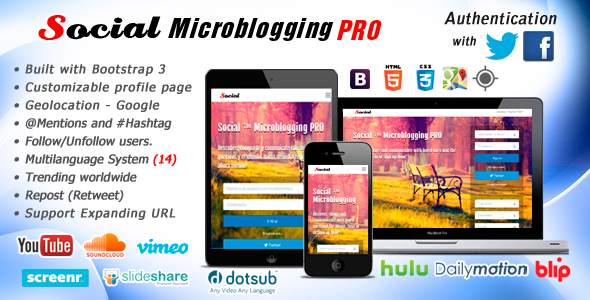 Social Microblogging PRO - CodeCanyon Item for Sale