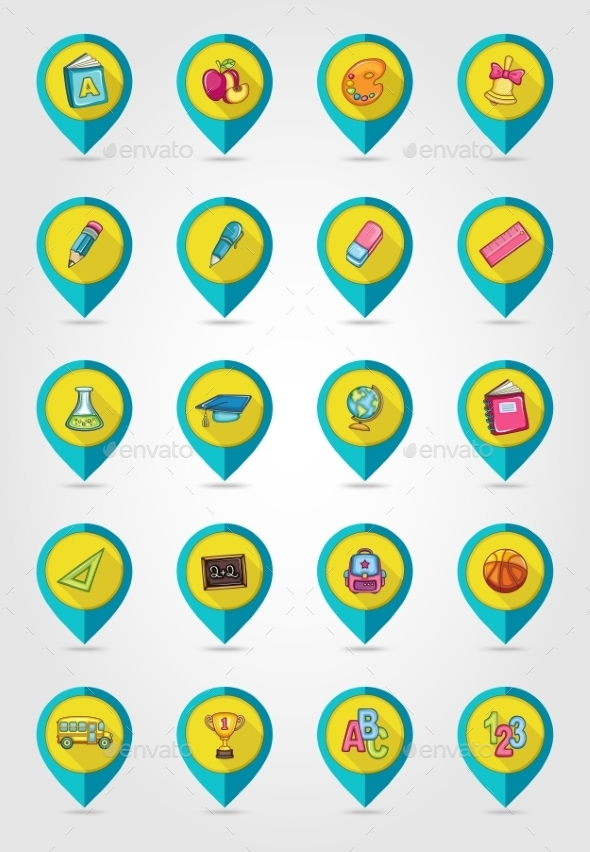 School Flat Mapping Pin Icon Set - Web Elements Vectors