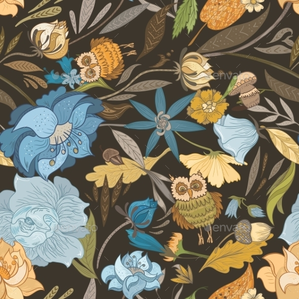 Creative Autumn Blue Vector Pattern - Flowers & Plants Nature