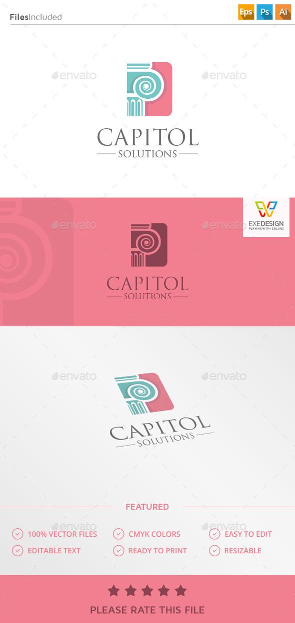 Capitol Column Logo - Vector Abstract