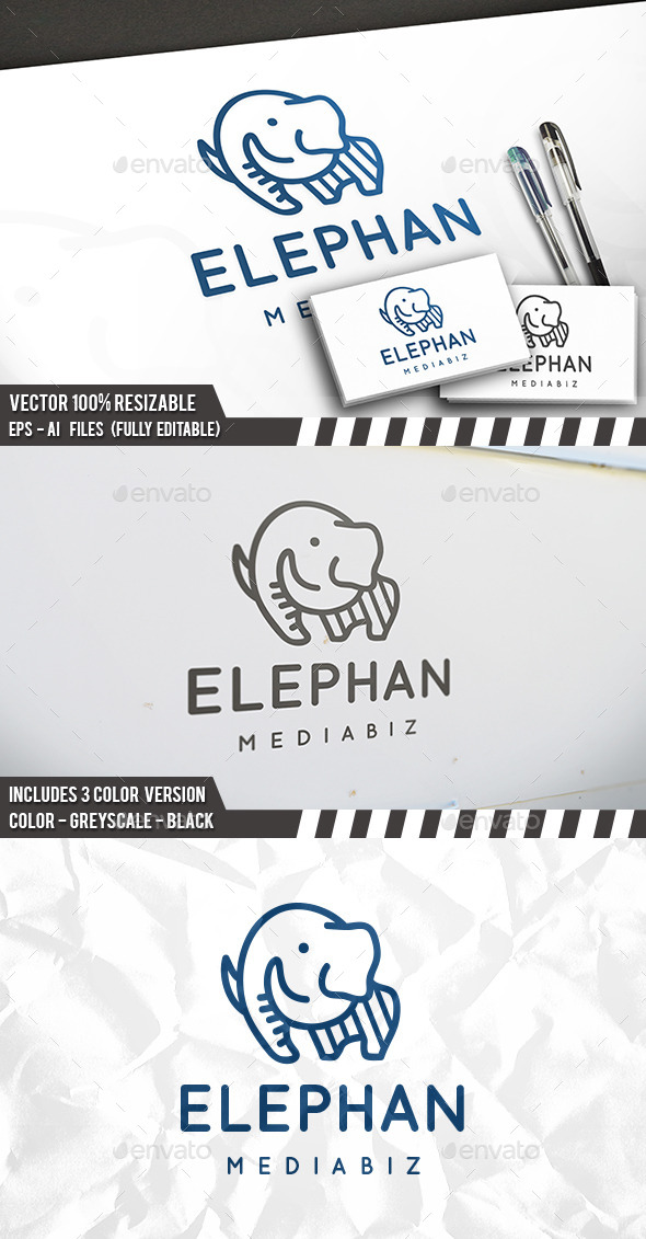 Elephant Line Logo - Animals Logo Templates