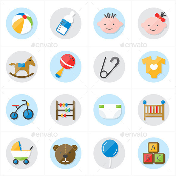 Flat Icons For Baby Icons and Toys Icons Vector Il