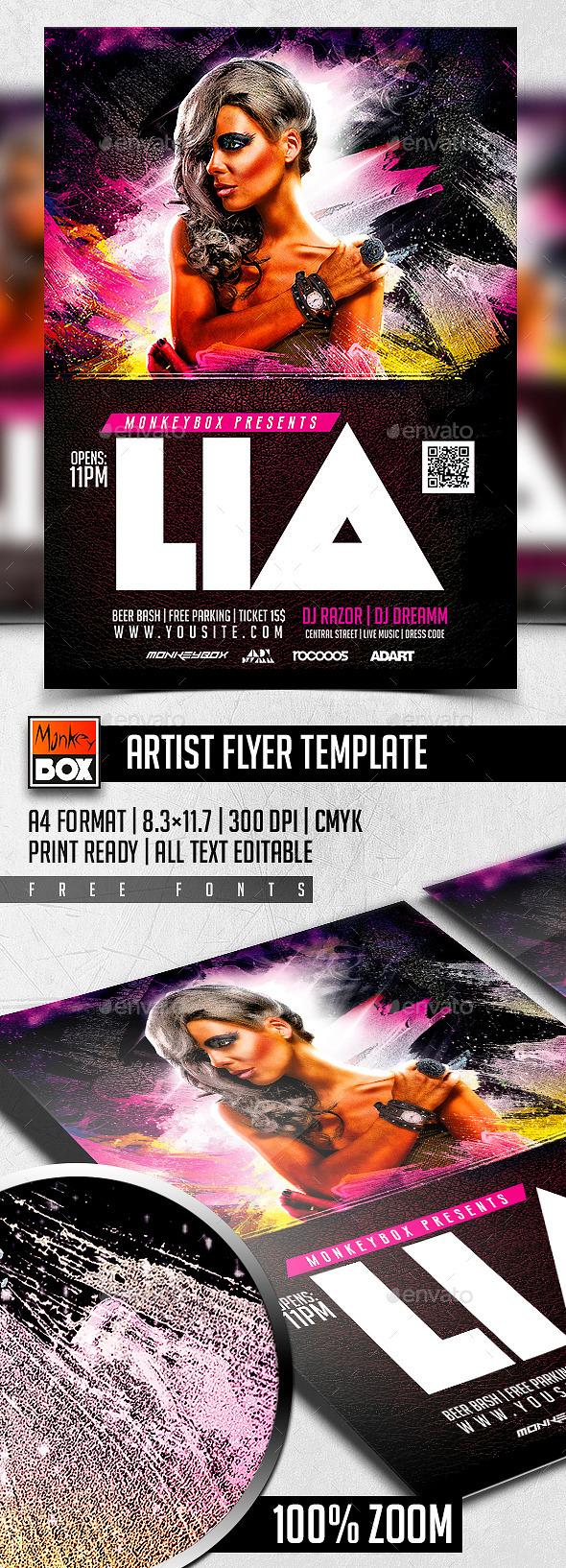 Artist Flyer Template - Clubs & Parties Events