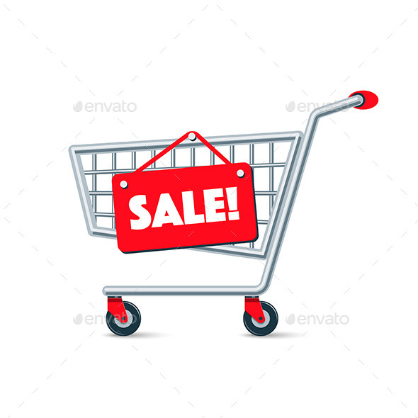 Empty Wire Shopping Cart with Red Sale Sign Board - Commercial / Shopping Conceptual