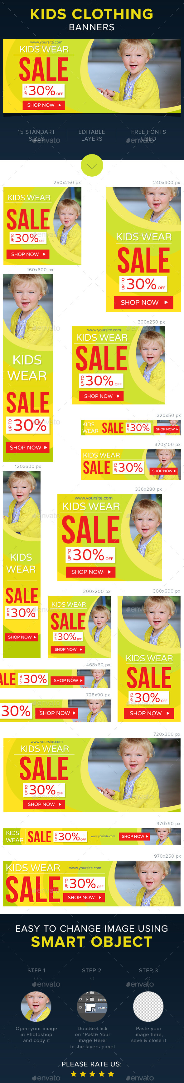 Kids Clothing Banners - Banners & Ads Web Elements