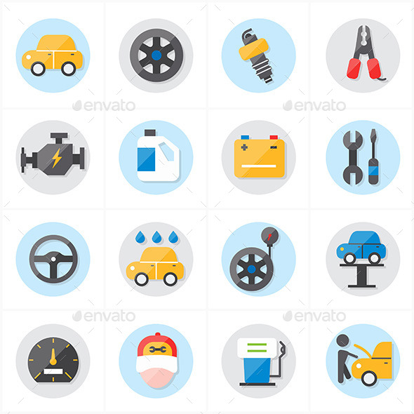 Flat Icons For Car Service Icons Vector Illustrati - Technology Icons