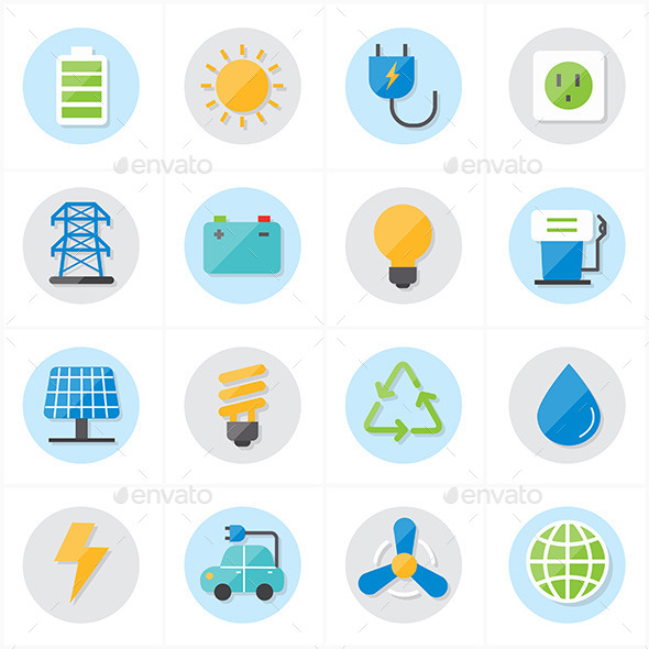 Flat Icons For Environment Icons and Ecology Icons - Technology Icons