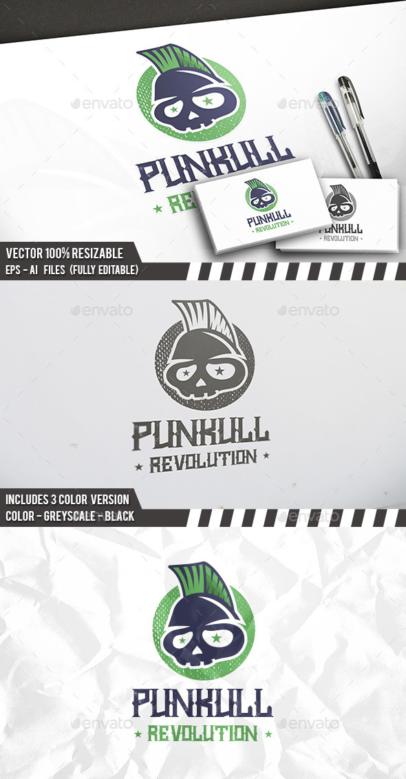 Punk Skull Logo - Humans Logo Templates
