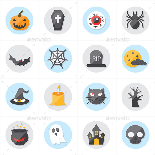 Flat Icons For Halloween Icons Vector Illustration - Seasonal Icons
