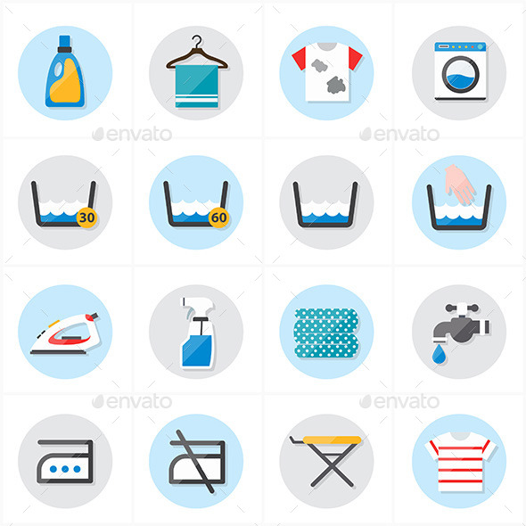 Flat Icons For Laundry and Washing Icons Vector Il - Miscellaneous Icons