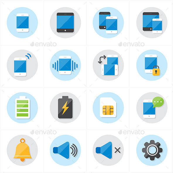 Flat Icons For Mobile Icons and Notification Icons - Technology Icons