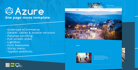Pure Blue Muse Template for Portfolios & Creatives: Azure