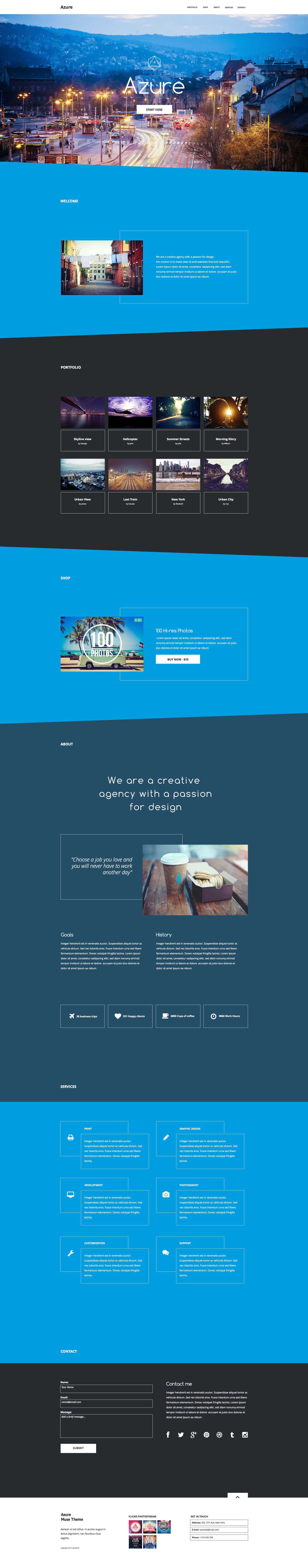 Azure - Pure Blue Muse Template for Portfolios & Creatives ...