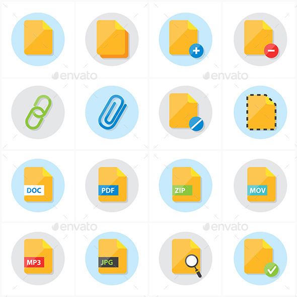 Flat Icons File Icons Vector Illustration