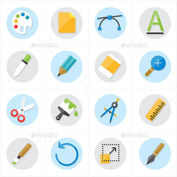 Flat Icons Graphic Design and Creativity Icons Vec - Objects Icons