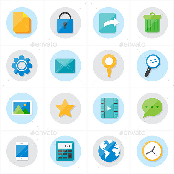 Flat Icons Mobile Icons and Internet Web Icons Vec