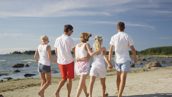 Group of Friends are Walking on Beach at Sunny Day
