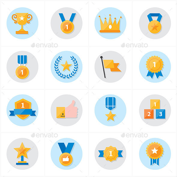 Flat Icons Trophy and Prize Icons Vector Illustrat