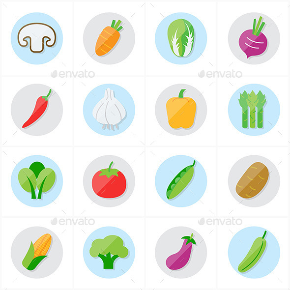 Flat Icons Vegetables Icons Vector Illustration - Food Objects