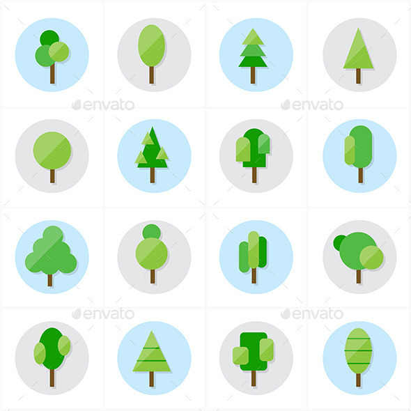 Flat Tree Icons Vector Illustration - Icons