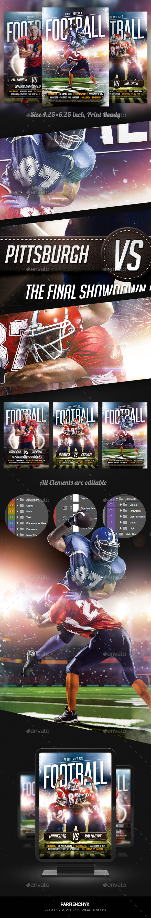 Footbal Game Flyers Bundle - Sports Events