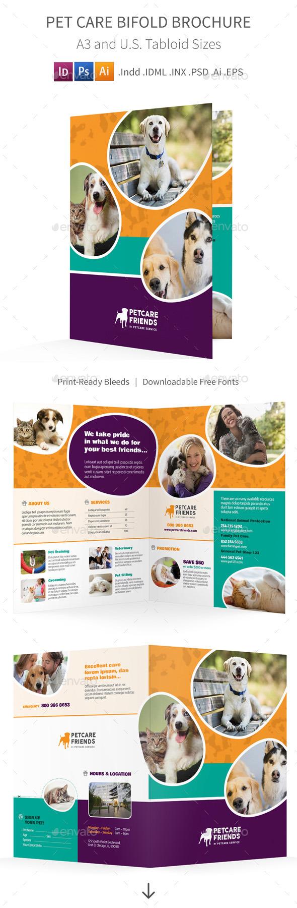 Pet Care Bifold / Halffold Brochure - Informational Brochures