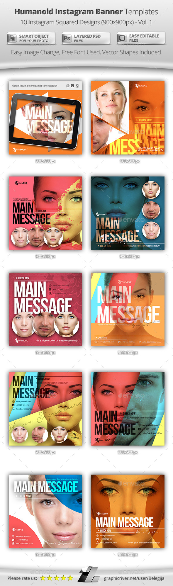 10 Humanoid Instagram Banner Templates - Banners & Ads Web Elements