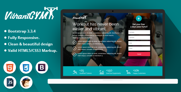 Vibrant GYM – HTML Landing Page Template
