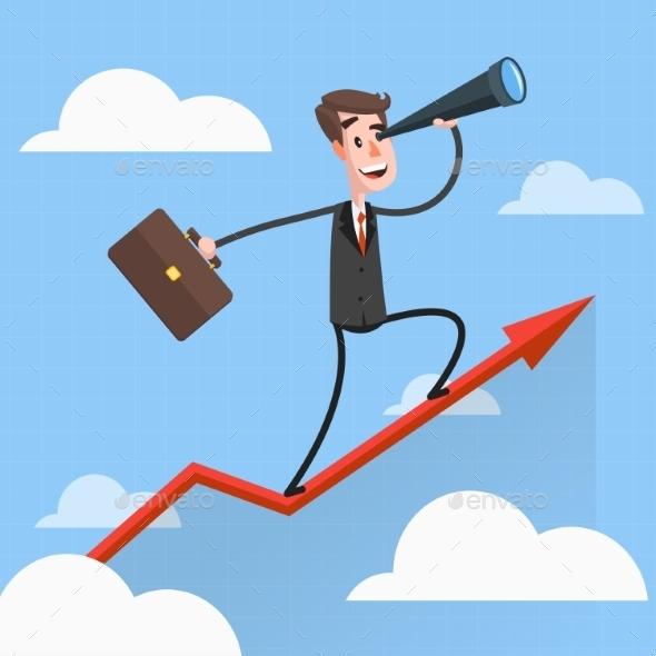 Businessman Flies Over Growing Chart