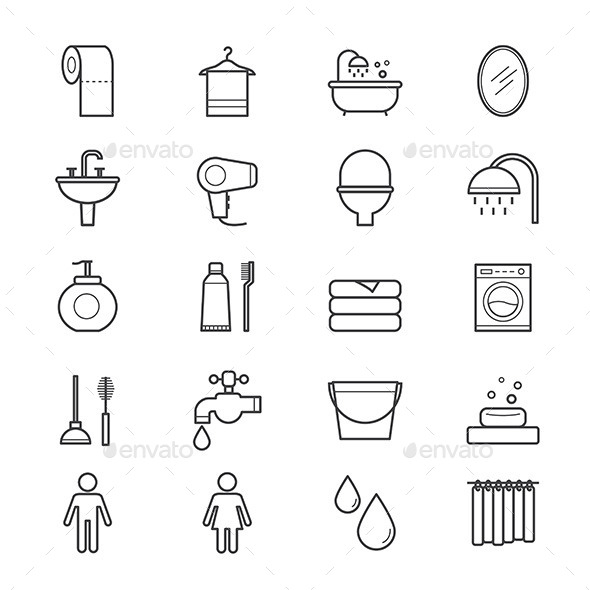Bathroom and Toilet Icons Line - Miscellaneous Icons