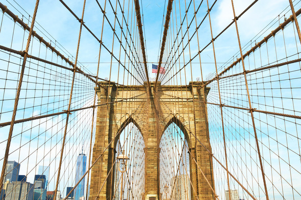 Brooklyn bridge pillar, New York City - Stock Photo - Images