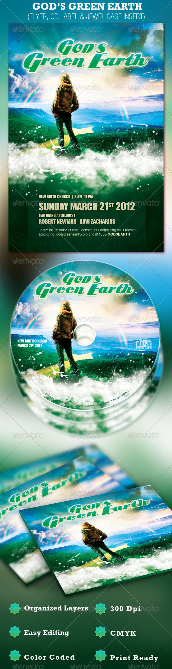 God's Green Earth Church Flyer and CD Template - Church Flyers