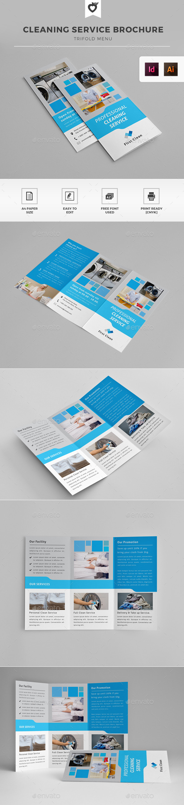 Cleaning Service Laundry Trifold Brochure