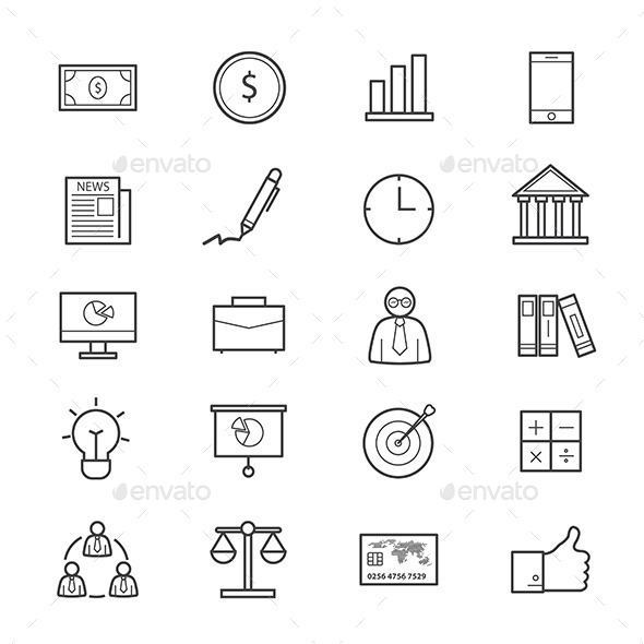 Business and Finance Icons Line - Business Icons