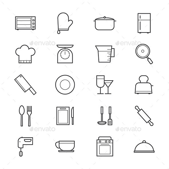 Cooking and Kitchen Utensil Icons Line