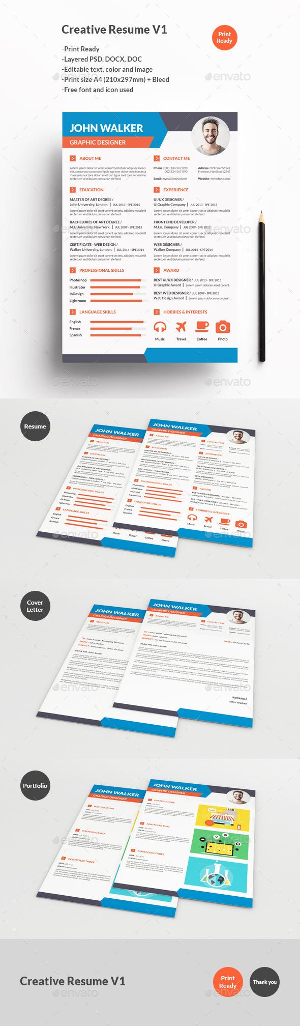 Creative Resume V1 - Resumes Stationery