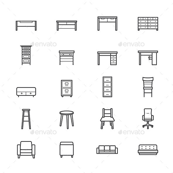 Furniture Office and Home Accessories Icons Line - Objects Icons