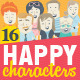 16 Happy Characters in Flat Style - GraphicRiver Item for Sale