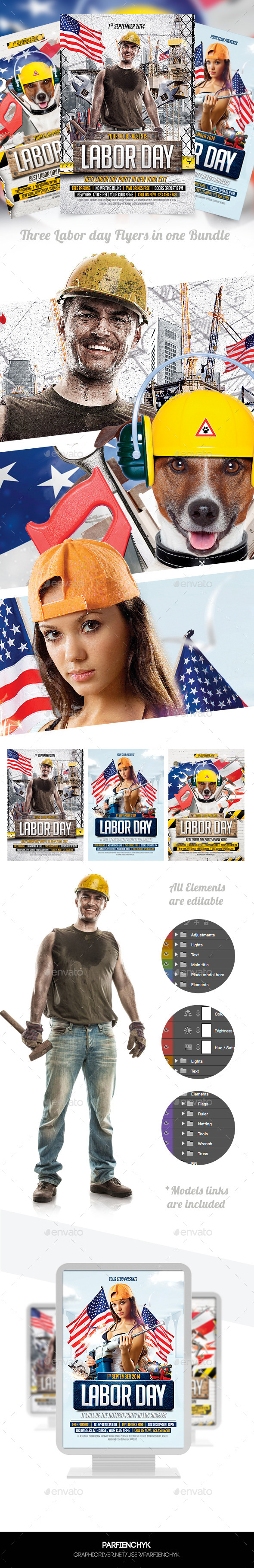 Labor Day Flyers Bundle - Clubs & Parties Events
