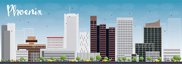 Phoenix Skyline with Grey Buildings - Buildings Objects