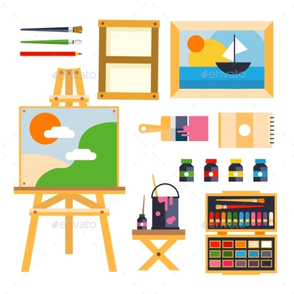 Studio Drawing Tools To The Creative Process Flat - Web Technology