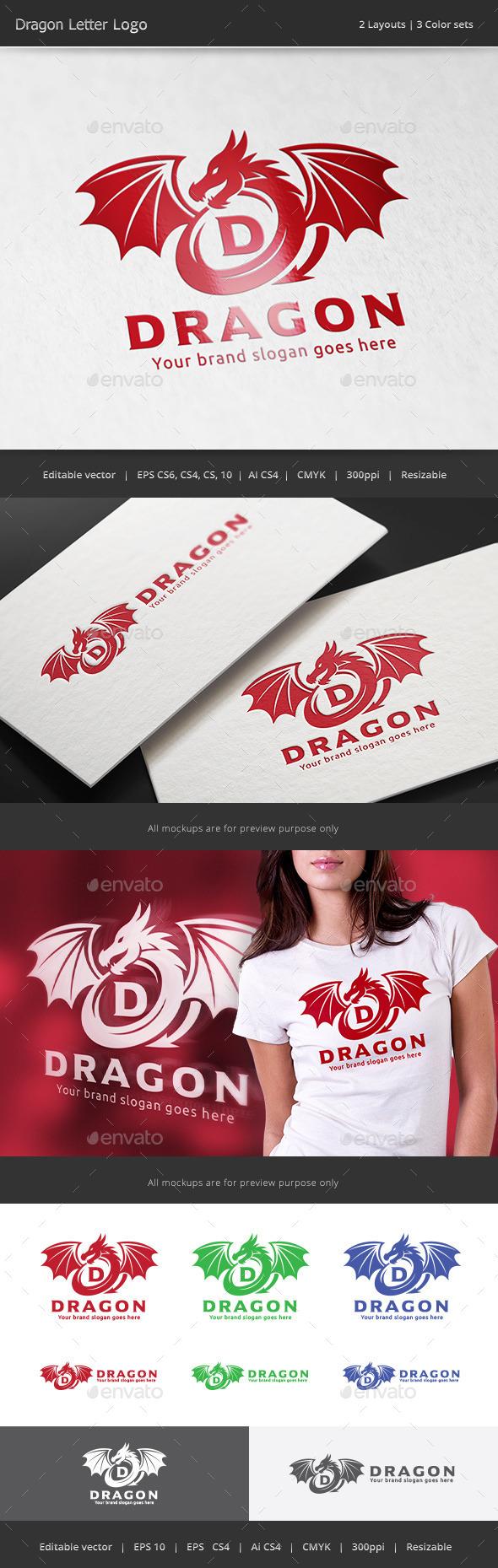 Dragon Letter Logo - Crests Logo Templates