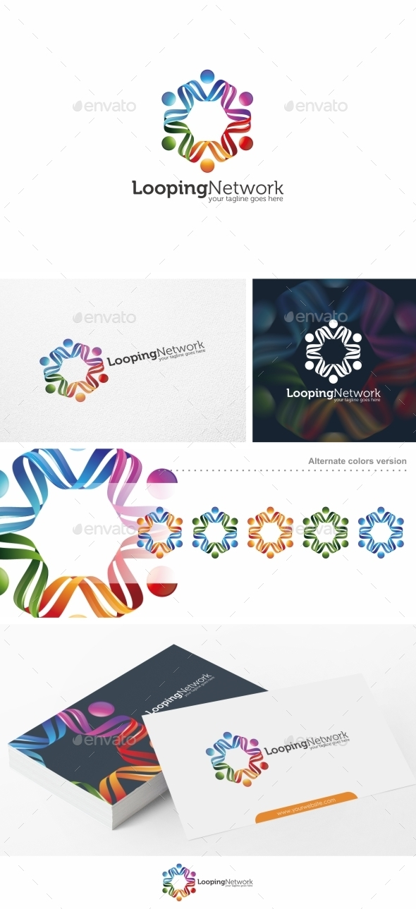 Looping Network - Logo Template - Humans Logo Templates