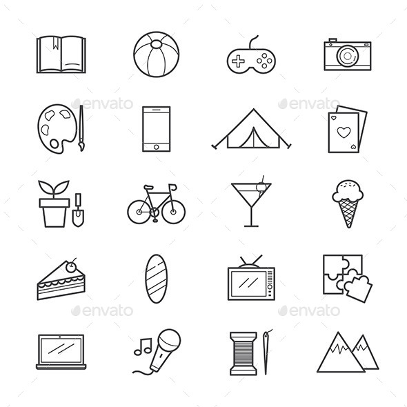 Hobbies and Activities Icons Line - Miscellaneous Icons