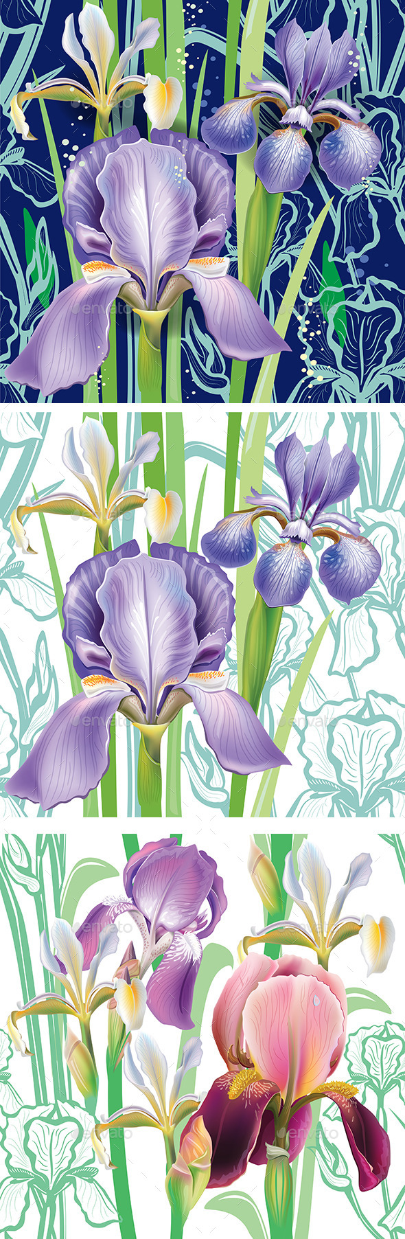 Seamless floral pattern with irises - Flowers & Plants Nature
