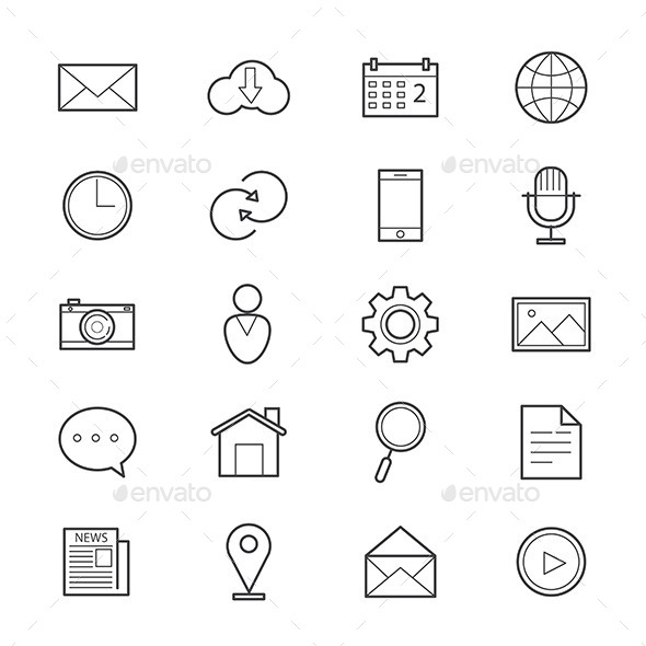Internet Web and Mobile Icons Line