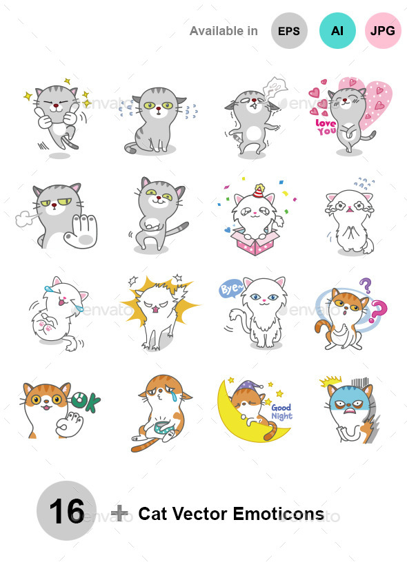 Cat Vector Emoticons - Animals Characters